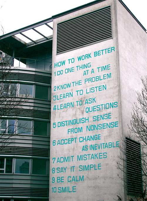 Fischli & Weiss »How to Work Better« - Mural on office building in Zurich-Oerlikon.
